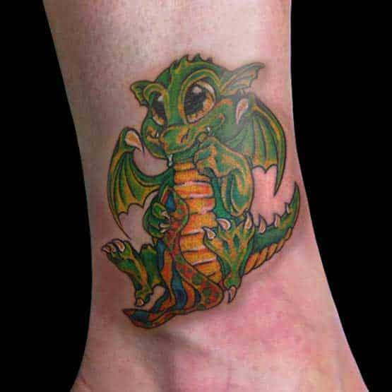 Baby Dragon Tattoo On The Leg