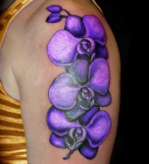 purple flower tattoo purple flowers tattoos on left purple flowers ...
