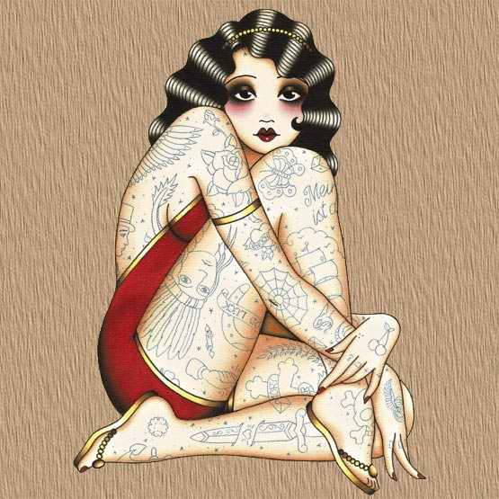 Girls old school tattoo designs