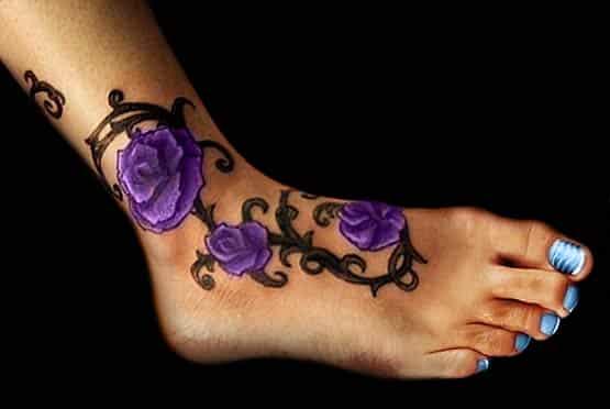 Purple Flower Ankle Tattoo