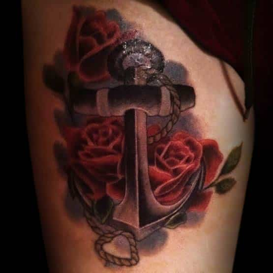 Anchor Tattoos With Roses