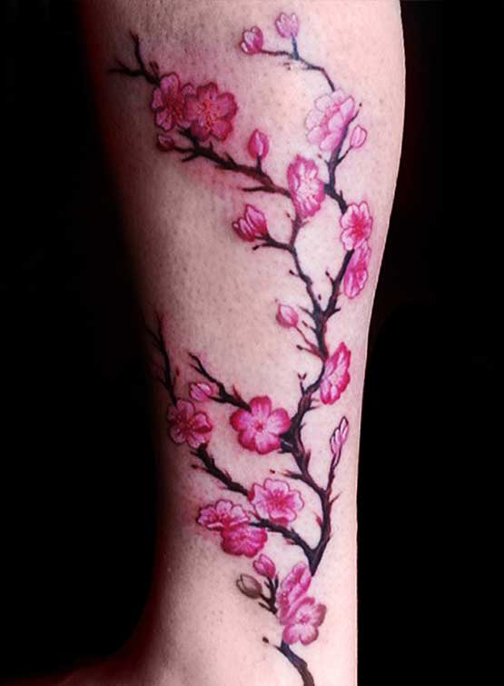 Cherry Blossom Design On The Legs