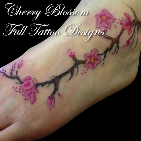 Cherry Blossom Tattoo On Foot Girl