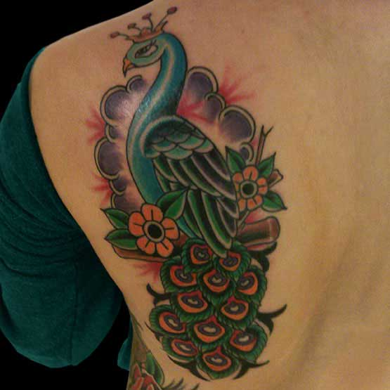 Peacock Back Tattoo Designs