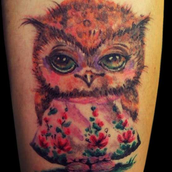 Little owl outline tattoo - photo#22
