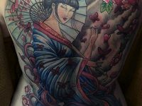 Full Back Geisha Tattoo Designs Women