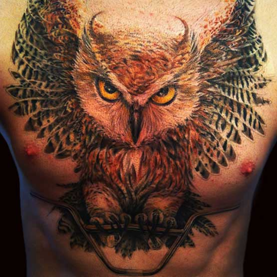 Full Owl Chest Tattoo Designs