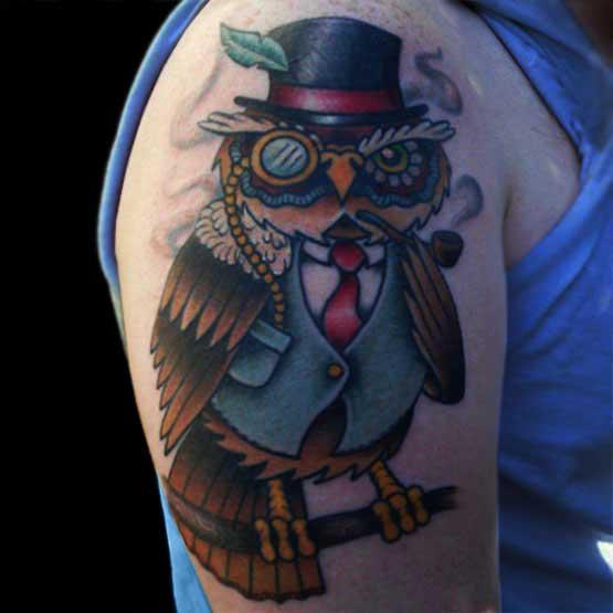 Funny Owl Tattoo Designs
