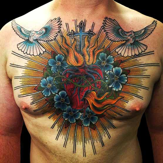 Heart Tattoo Designs On Chest