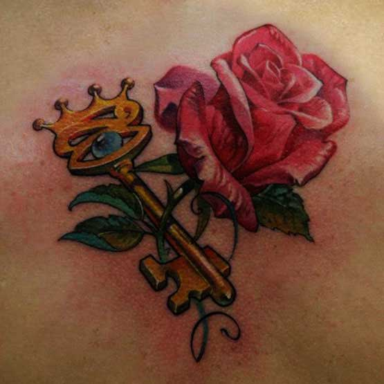 Roses With Key Tattoo Designs
