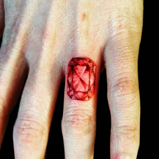 Diamond On Finger Tattoo Designs