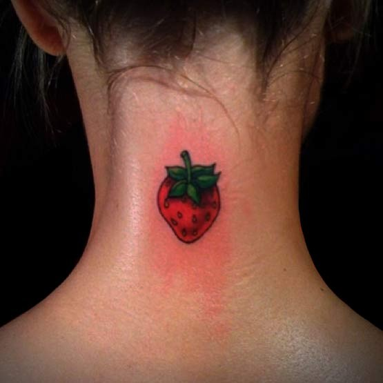 Cute Girl Strawberry Tattoo On Her Neck