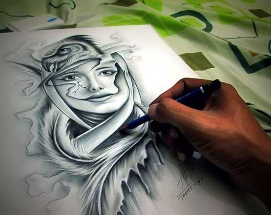 Arief Tretes Make A Tattoo Design With Pencil