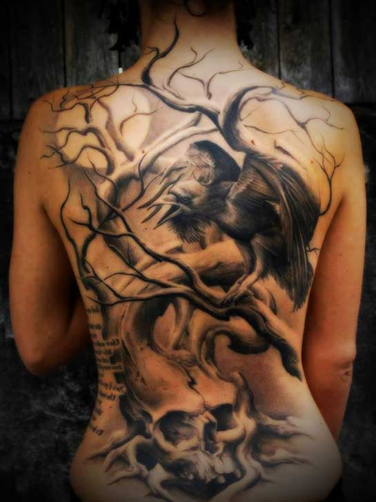 full tattoo designs for women-at her back