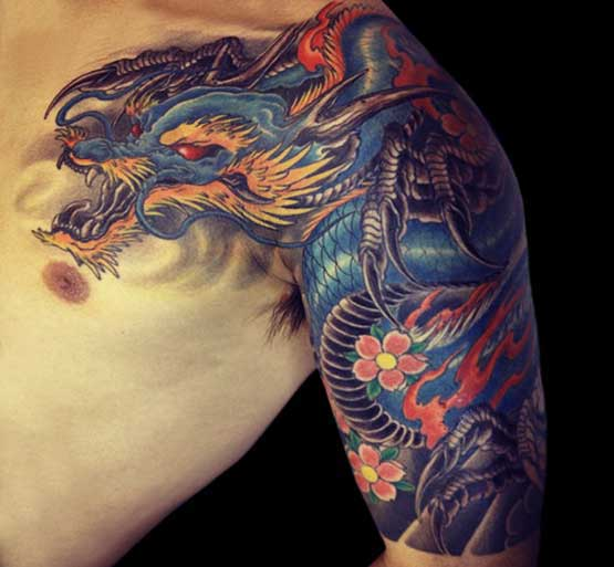 Blue Chinese Dragon Tattoo For Men