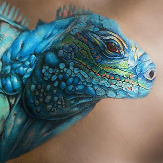 Blue Designs With Iguana Tattoo