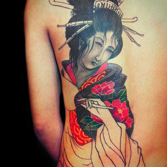 Geisha in back tattoos for girls