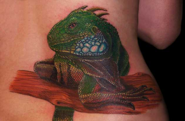 Iguana On Lower Back Tattoo