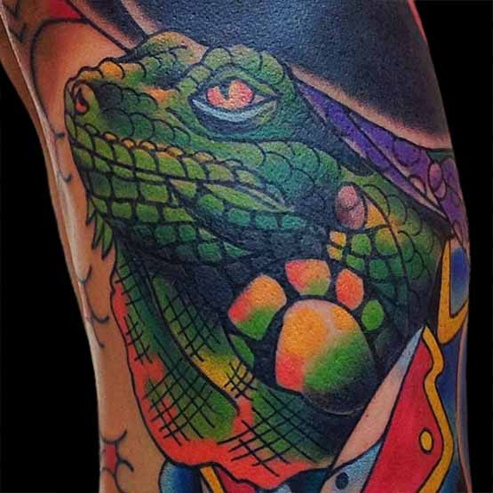 Iguana Tattoo Designs With Color