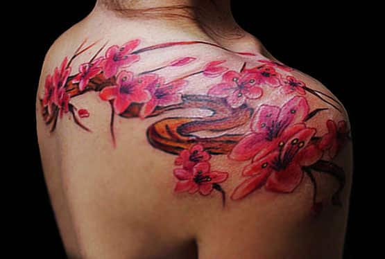 Cherry Blossom Tattoo Girls Shoulder