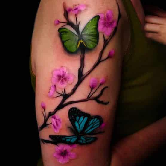 Cute Cherry Blossom Tattoo Designs Girls