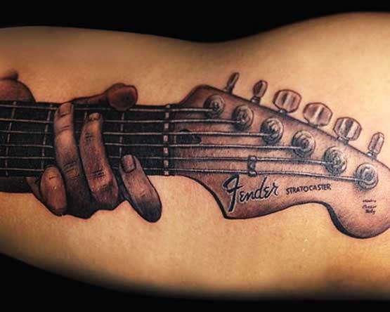 Guitar As Music Tattoo Designs