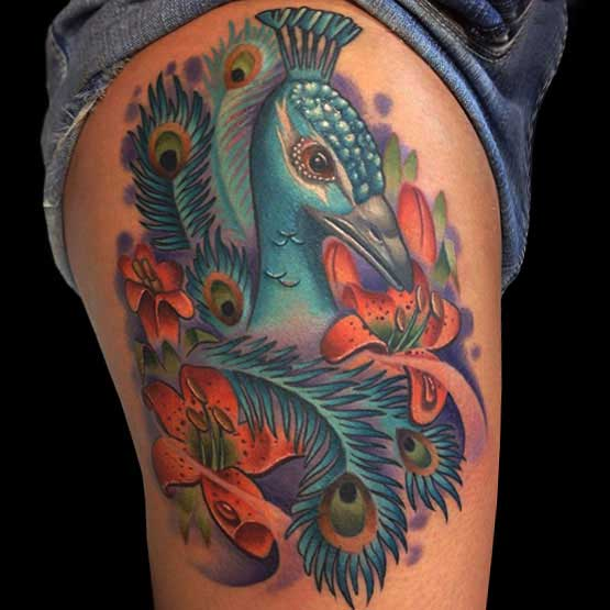 Peacock Tattoo On Tight