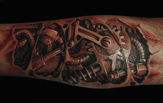 3D Machine Tattoo Designs Ideas