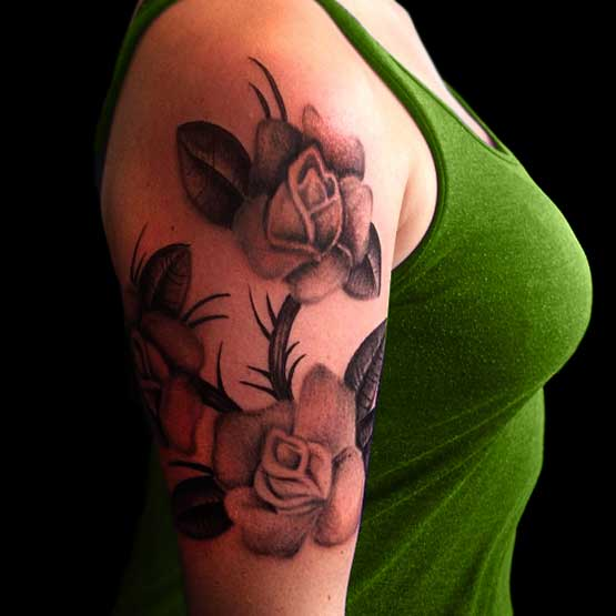 Black Rose Flower Arm Tattoo Designs