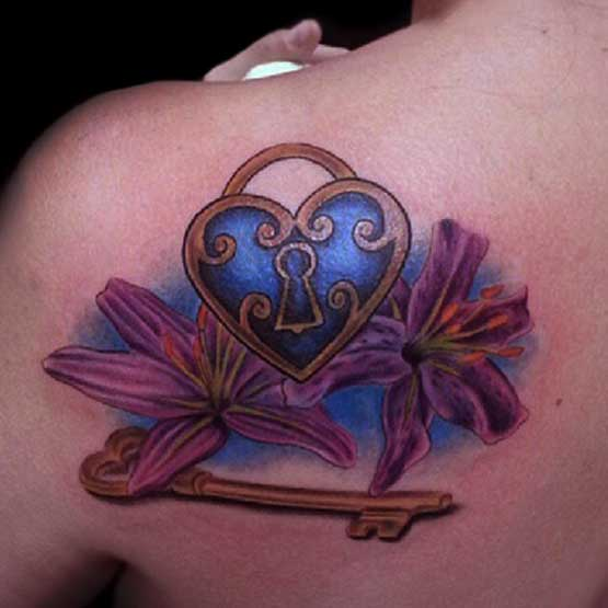 Blue Heart Designs For Tattoos With Flower