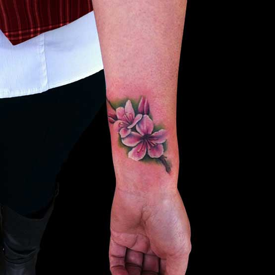 Cool Cherry Blossom Tattoo Designs On Wrist
