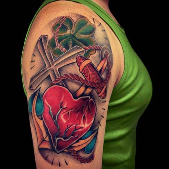 Cool Tattoo Heart Cross Designs Girls