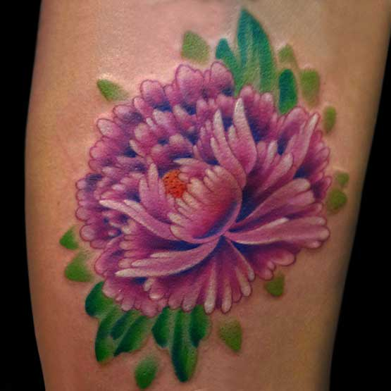 Dahlia Flower Thigh Tattoo Designs