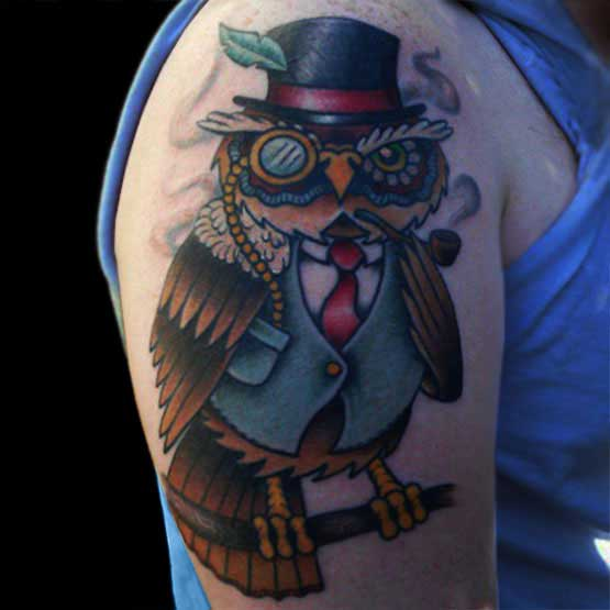 Funny Owl Tattoo Designs