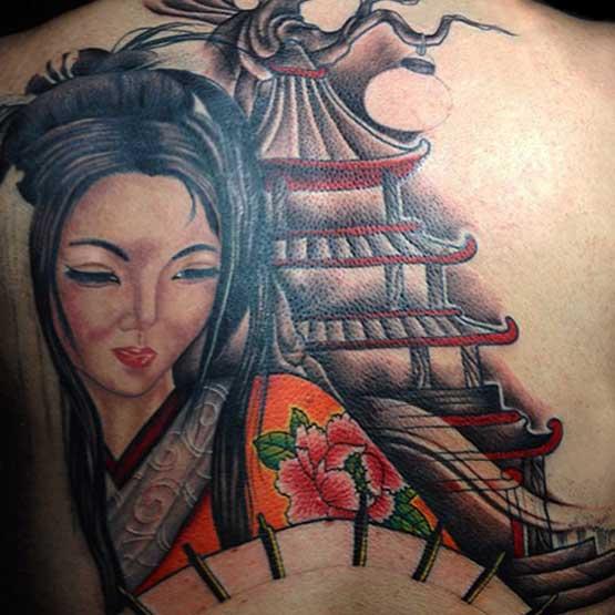 Geisha Girls Tattoo Designs On Back