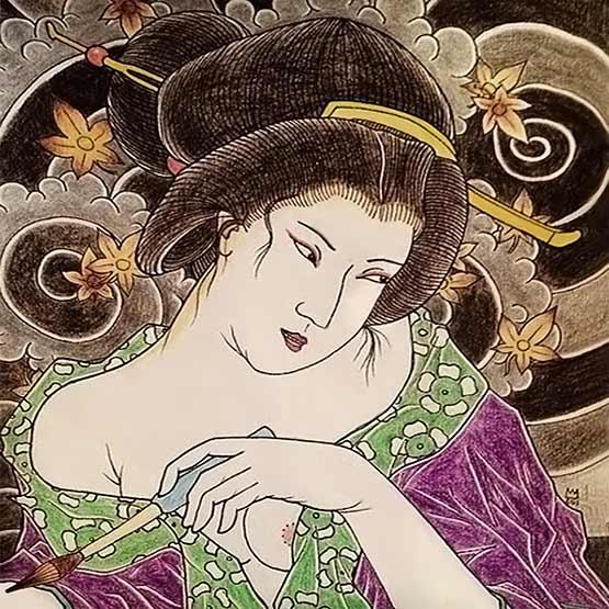 Japanese Geisha Tattoo Drawing