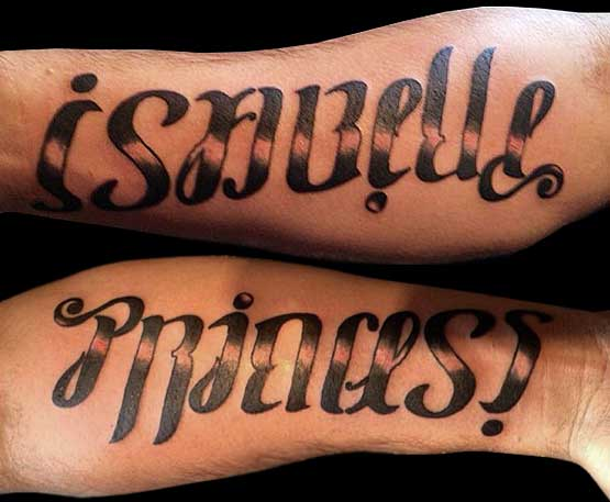 Mens Ambigram Tattoo Designs