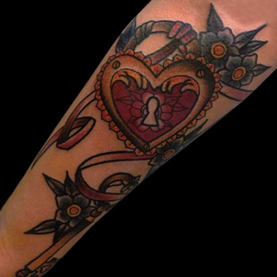 Nice Heart Tattoo Designs On Sleeve