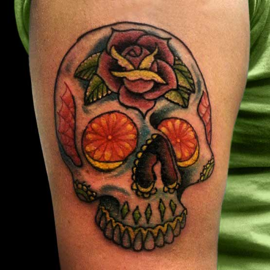 Old School  Sugar Skull Tattoo Ideas