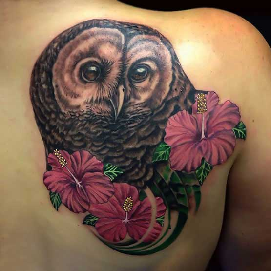 Owl On back tattoo designs