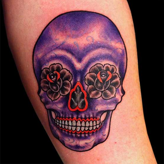 Purple Sugar Skull Tattoo Designs