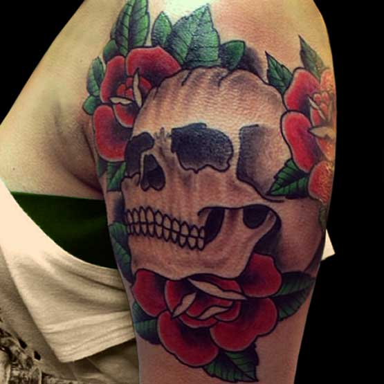Roses And Skulls Tattoo Designs Women