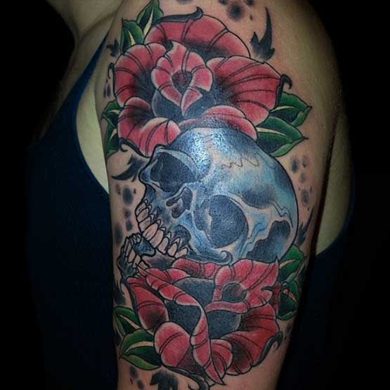 Skull Tattoo Designs With Flowers