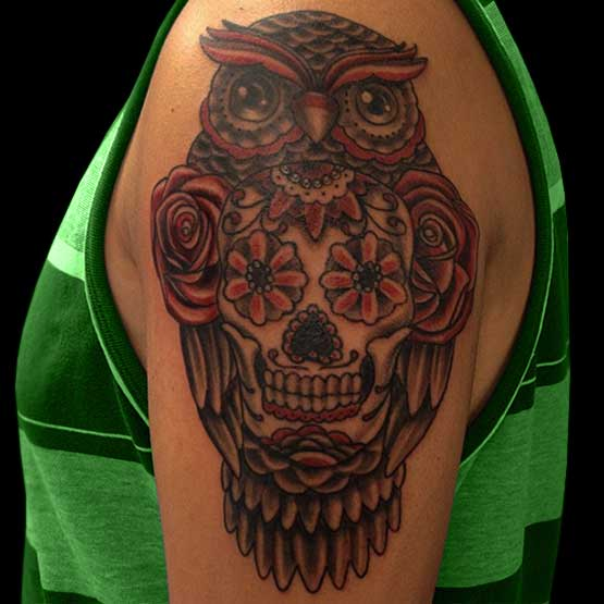 Sugar Skull Owl Tattoo Designs
