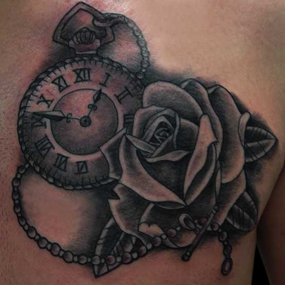 Tattoo Designs Roses And Clock On Back