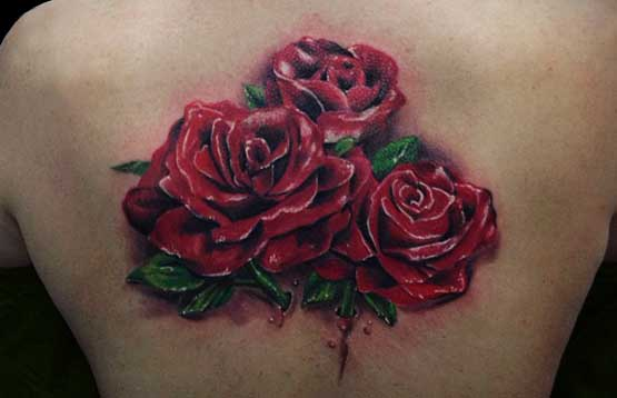 Three Roses Tattoo Designs On Back