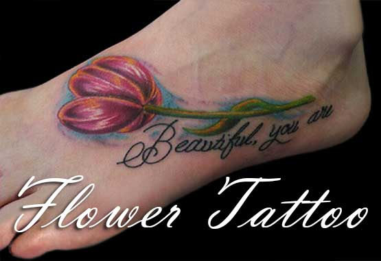 Tulip Flowers Tattoo Designs On Foot