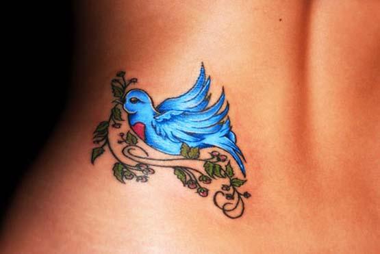 blue bird lower back tattoo