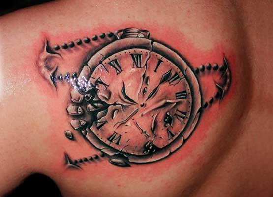 Clock in back tattoo designs