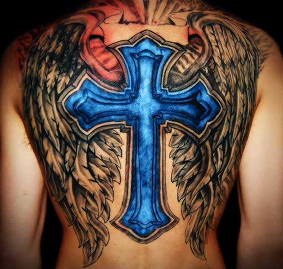 Blue cross with wing tattoo designs